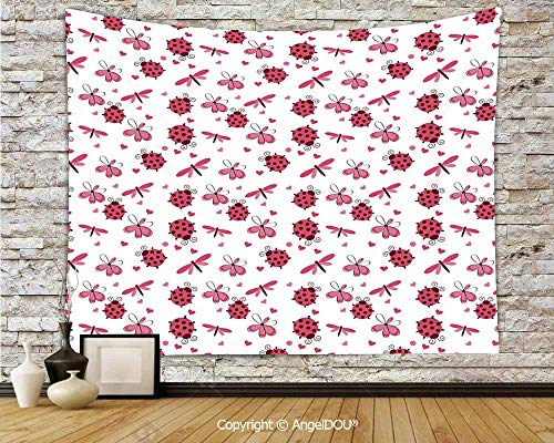 AngelDOU Ladybugs Hanging Wall Tapestry Retro Domed Back Round Ladybugs with Hearts Flowers Dragonflies Romantic Wings Pattern Home Decor Yoga Beach Mat.W70.8xL59(inch)