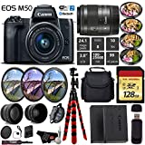 Canon EOS M50 Mirrorless Digital Camera with 15-45mm Lens + UV FLD CPL Filter Kit + 4 PC Macro Kit + Wide Angle & Telephoto Lens + Camera Case + Tripod + Card Reader – International Version
