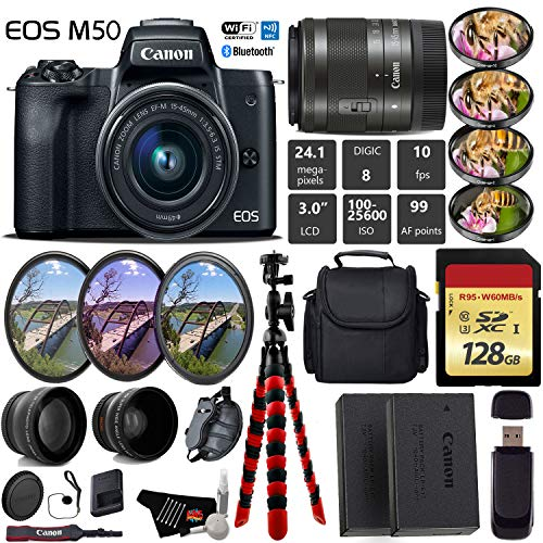 Canon EOS M50 Mirrorless Digital Camera with 15-45mm Lens + UV FLD CPL Filter Kit + 4 PC Macro Kit + Wide Angle & Telephoto Lens + Camera Case + Tripod + Card Reader - International Version