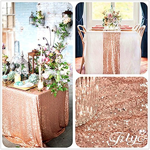 TRLYC 20PCS 12'' x 108'' Royal Sequin Table Runner, Rose Gold by TRLYC (Image #2)