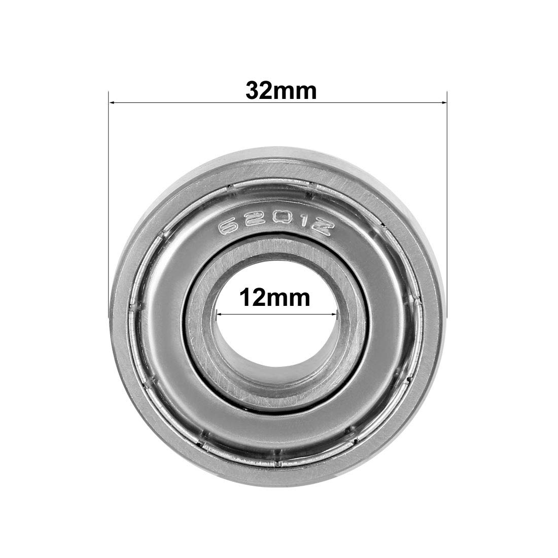 Carbon Steel Pack of 2 uxcell 6201ZZ Ball Bearing 12mm x 32mm x 10mm Double Shielded 6201-2Z 80201 Deep Groove Bearings