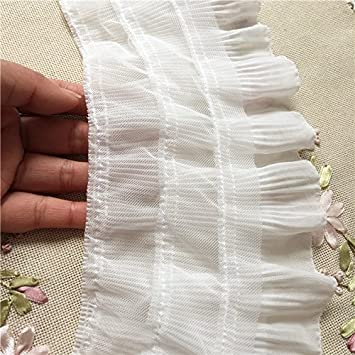 2 Yards 12cm Width 3-Layer Tiered Ruffle Pleated Chiffon Lace Fabric Black