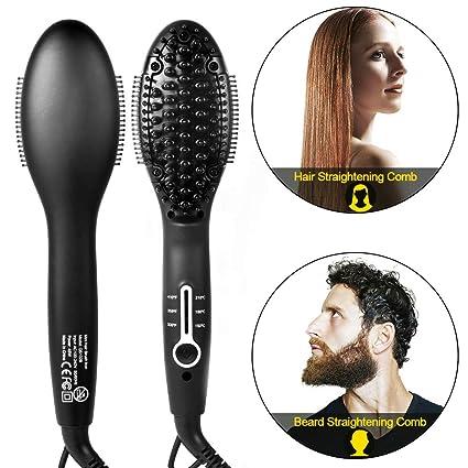 2 en 1 Peine para Enderezar la Barba, Cepillo para Alisar el Cabello Peines Calientes