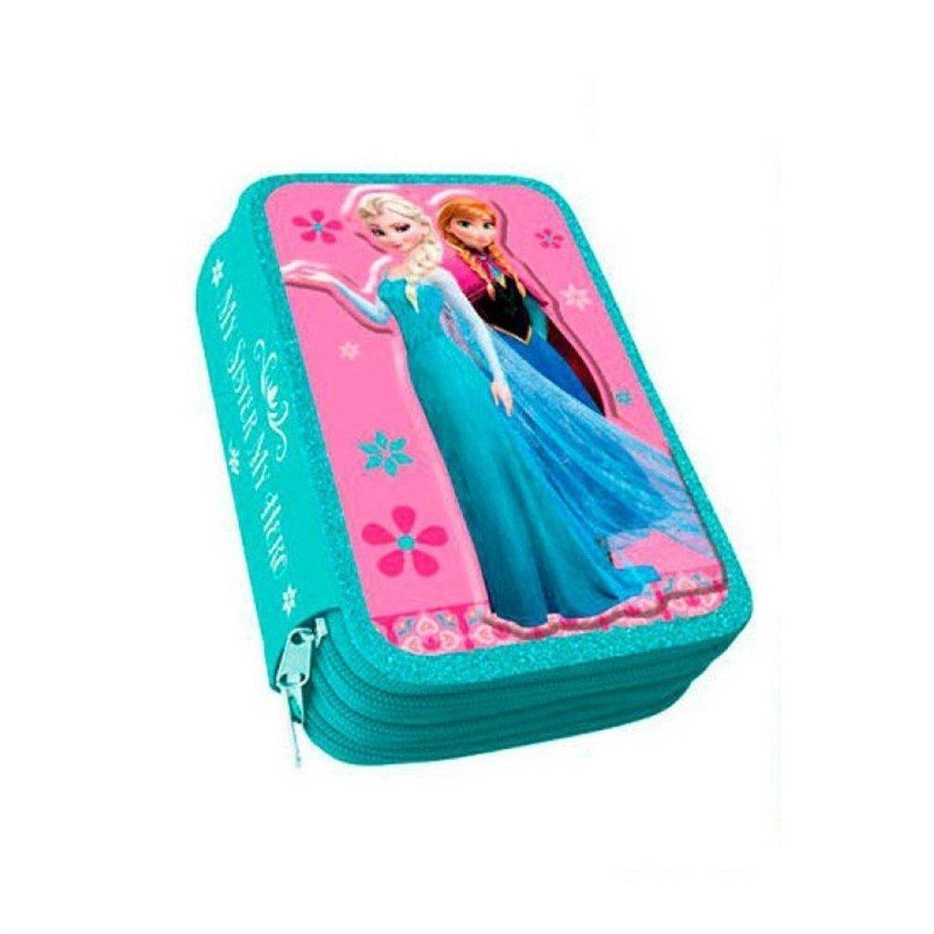 Disney El Reino Del Hielo Frozen Relleno - Estuche Triple Escolar 36 Piezas AS021