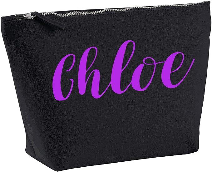 Chloe - Bolsa para accesorios de maquillaje, personalizable, color negro, impresión morada, cumpleaños, bodas, Navidad, maquillaje: Amazon.es: Belleza