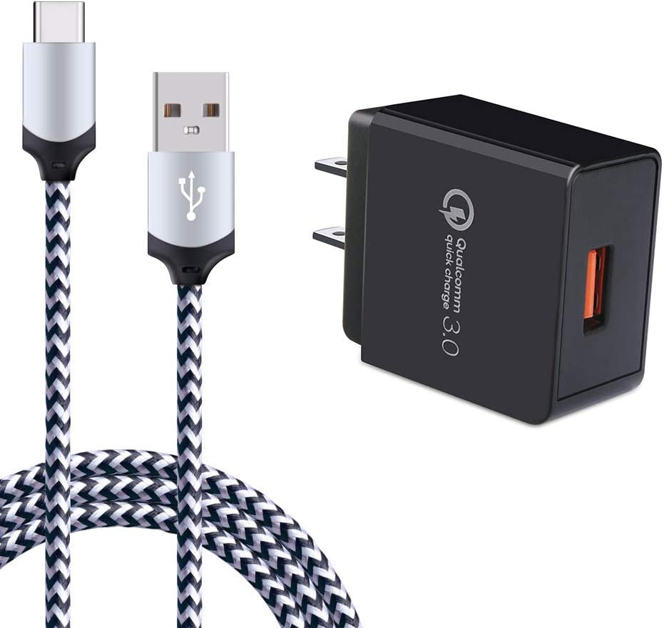 Quick Charge 3.0 Fast Charger Compatible Google Pixel 2 XL/3 XL/3a XL/C, LG Stylo 5/4, G8 G7 G6 G5 ThinQ, Samsung Galaxy S10e S10 S9 S8, Note 10 9 8, Rapid Charger 6Ft USB Type C Charging Cable Cord