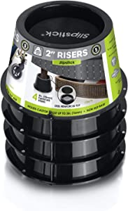 Slipstick CB674 Premium 2 Inch Furniture Risers/Bed Raisers with Steel Reinforced Top (Set of 4) Adds 2
