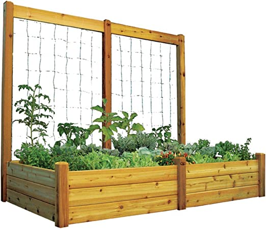 Amazon Com Gronomics Rgbttk4895s Raised Safe Finish Garden Bed 48 By 95 By 19 Inch With 95 By 80 Inch Trellis Kit Garden Outdoor