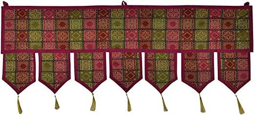 Lalhaveli Moroccan Design Silk Door Hanging Tapestry Window Valance Threatment 39 X 16 Inches