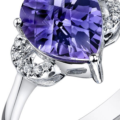 Peora 14K White Gold Pear Simulated Alexandrite Diamond Ring 3.05 cttw