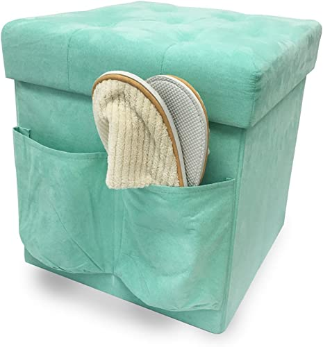 ZEYU HOME Faux Suede Storage Ottoman Cube Foldable Green