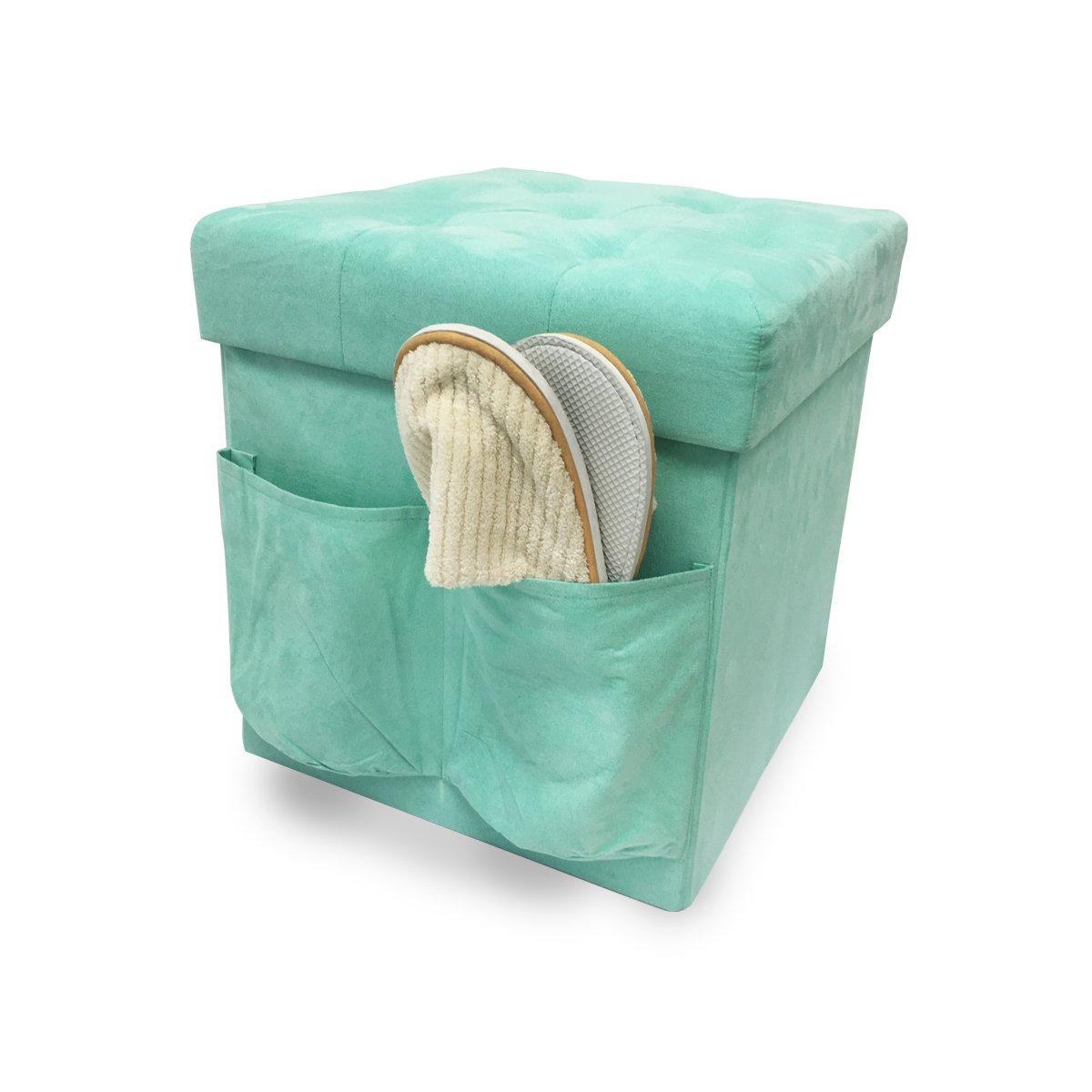 ZEYU HOME Faux Suede Storage Ottoman Cube Foldable Green