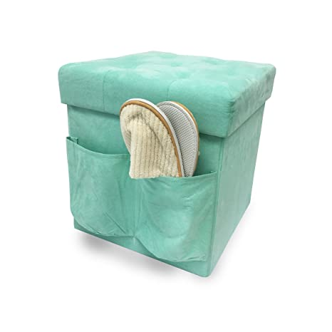 Astounding Zeyu Home Faux Suede Storage Ottoman Cube Foldable Green Ocoug Best Dining Table And Chair Ideas Images Ocougorg