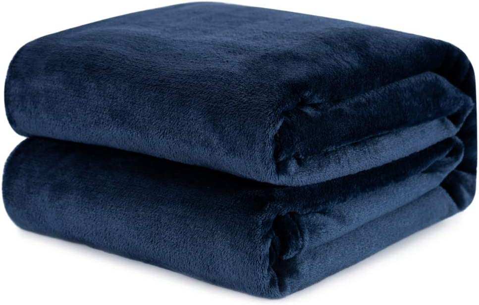 Wemore Fleece Blanket Throw, Super Soft Cozy Flannel Blanket, Microfiber Luxury and Lightweight All Season Fleece Throw Blanket for Bed, Couch, 60 x 80 Inches, Navy Blue