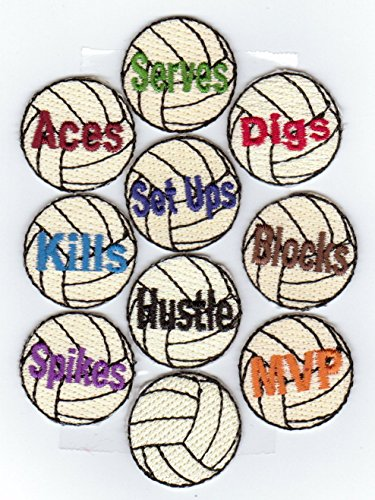 Volleyball Award Patches 2 x 10-packs (20 patches). 100% Embroidered Iron-On Backing ()