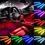 neon lights inside cars - Car LED Strip Light, Auto Parts Club 4pcs 48 LED DC 12V Multicolor Music Car Interior Lights LED Under Dash Lighting Atmosphere Neon Lights Kit with Sound Active Function and Wireless Remote Control