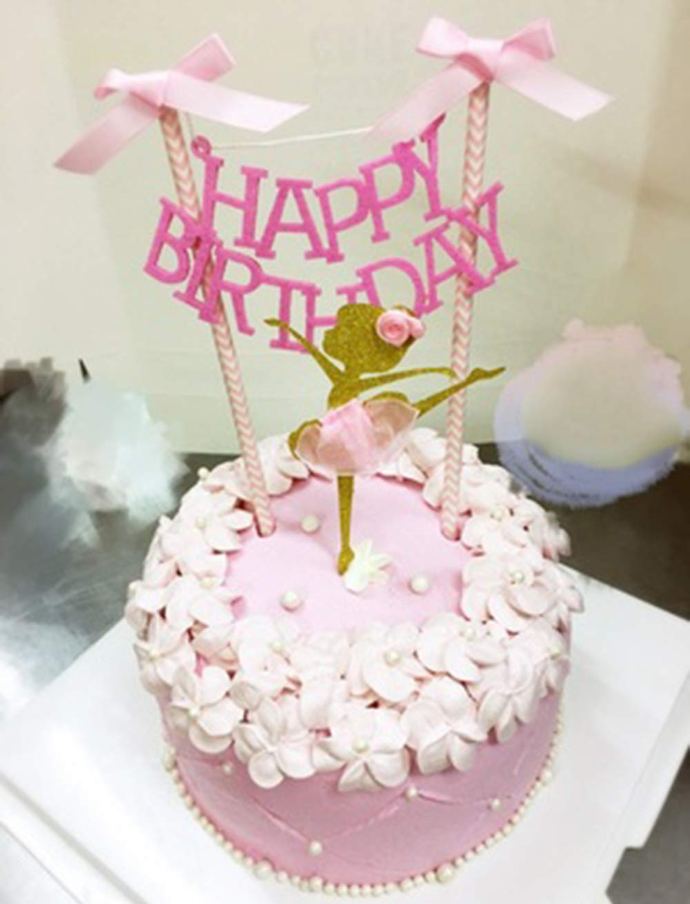 Soccerene HAPPY BIRTHDAY Cake Bunting Topper With Pink Bows And Straws Gold Glitter Ballerina Dress Set Of 2 Assembled Already