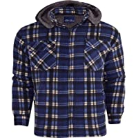 52_DNM Mens Padded Shirt Thick Lumberjack Work Checked Hooded Fleece Sherpa Lined