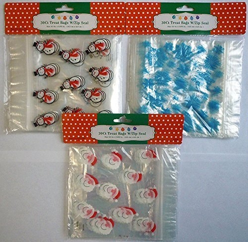 90 Christmas Holiday Treat Bags with Zip Lock, 3 Assorted Styles