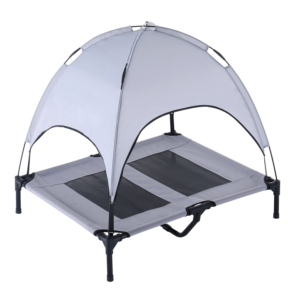SUPERJARE Large Dog Cot Canopy Elevated Pet Bed|Indoor Outdoor |Sturdy 1680D Oxford Fabric|Lightweight & Portable|Extra Carrying Bag|Gray