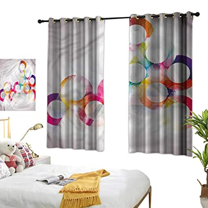 Prime Amazon Com Double Curtain Rod Abstract Disc Shapes Circles Best Image Libraries Thycampuscom