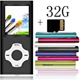 Tomameri - Portable MP3 / MP4 Player with Rhombic Button, Including a Micro SD Card and Support Up to 64GB, Compact Music, Video Player, Photo Viewer Supported - Black
