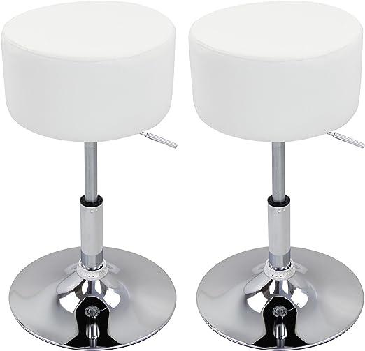 Bar Stools X2 Leather Swivel Bar Stools Gas Lift Rest Chairs Kitchen Breakfast