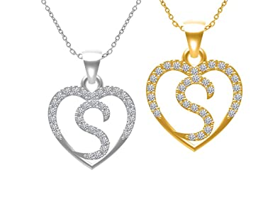 Buy alphabet s pendant gold and rodiam heart shape 2 alphabet s pendant gold and rodiam heart shape 2 pendants with chain mozeypictures Choice Image