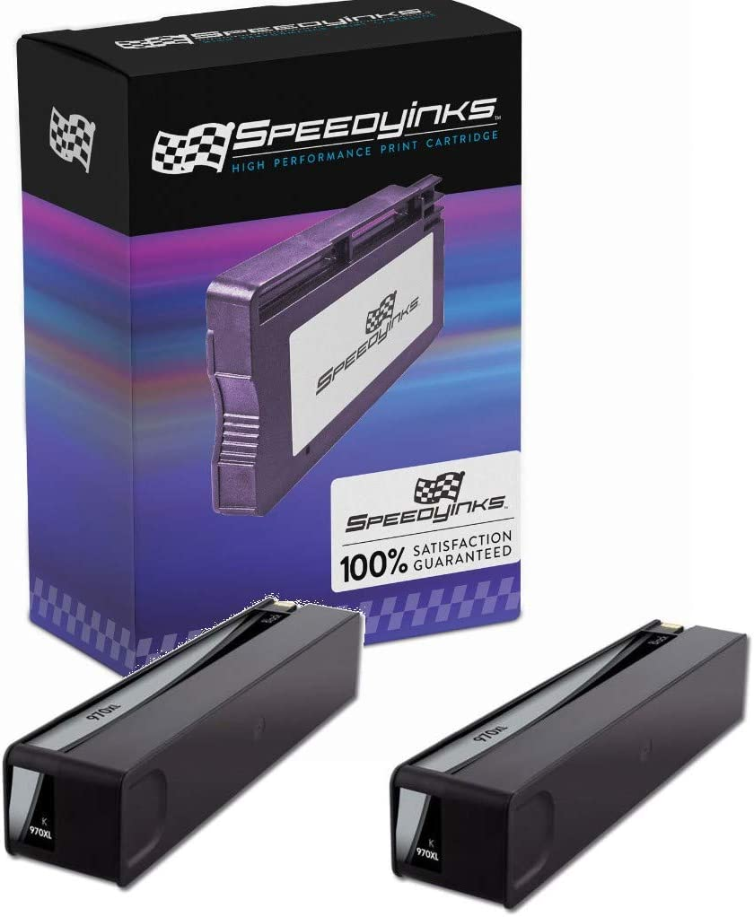 Speedy Inks Remanufactured Ink Cartridge Replacement for HP 970XL /CN625AM High-Yield (Black, 2-Pack)
