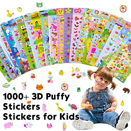RENOOK 20 Different Scenes , 1000+ 3D Puffy Stickers, Year-Round Sticker Bulk Pack for Teachers,Students, Toddlers,Scrapbooking, Girl Boy Birthday Present Gift,Festival Supplier.