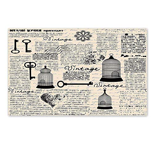 C COABALLA Old Newspaper Decor Stylish Door Mat,Grunge Pattern with Bird Cages Keys Heart Shapes and Flower Decorative for Office Home,15.7