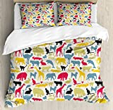 Cartoon Animal Queen Size Duvet Cover Set by Ambesonne, Grunge Retro Africa Wildlife Characters Colorful Silhouettes Savannah Fauna, Decorative 3 Piece Bedding Set with 2 Pillow Shams, Multicolor