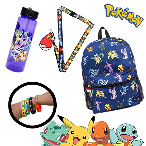 [Pokemon Eeevee Canvas School Backpack Bag with Lanyard Water Bottle and 4-Pack Bracelets] (Female Squirtle Costume)
