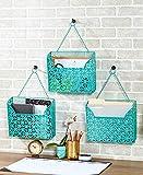 Set of 3 Hanging Metal File Organizers Turquoise