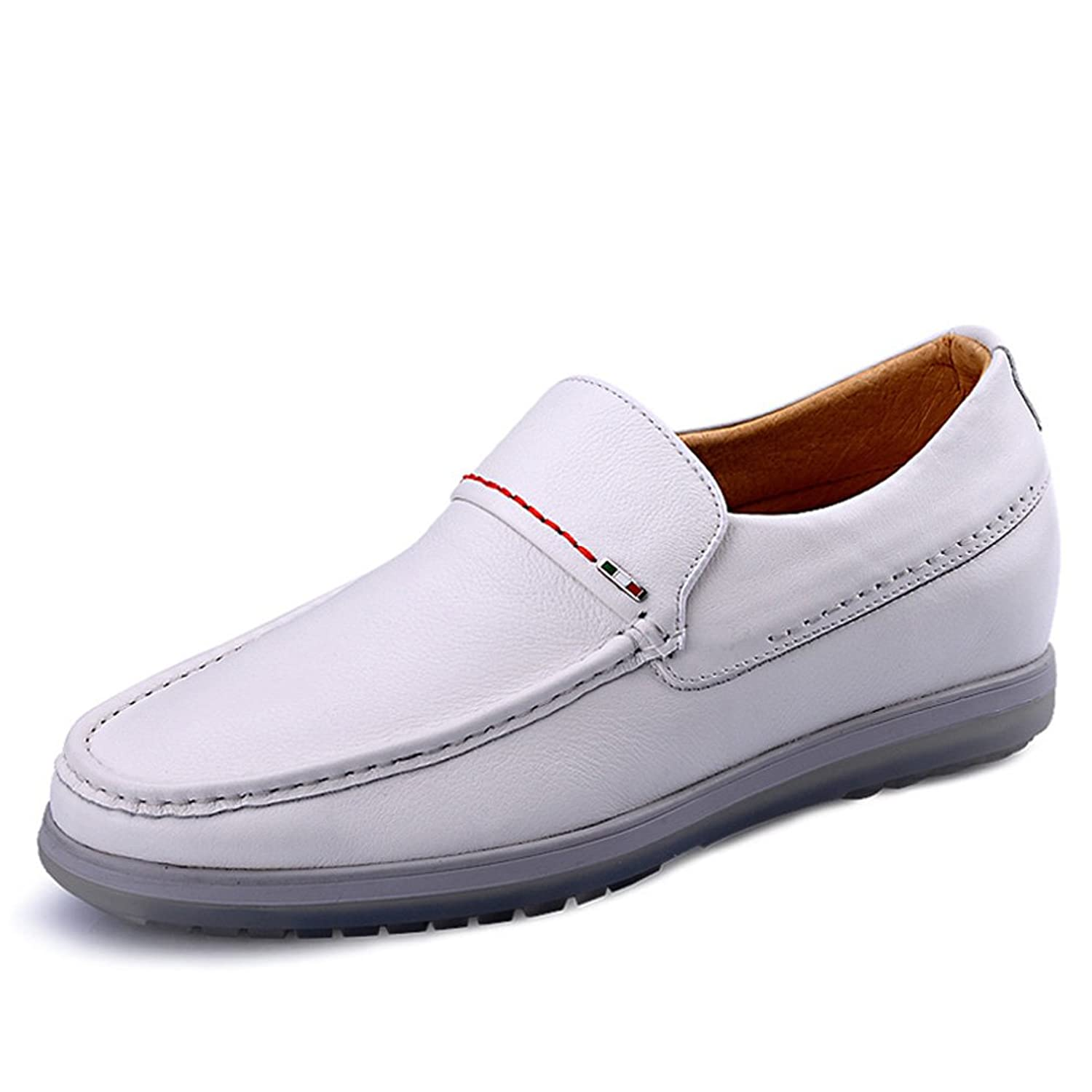 2.36 Inches Taller-Men's Comfort Driving Car Shoes Soft Leather Flats Loafers Casual Walking Shoes White
