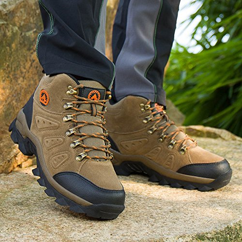 3C Camel Mens Waterproof Lightweight Breathable Leather Mid Boots