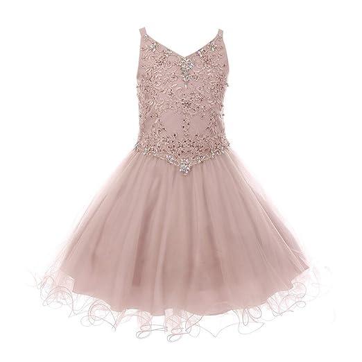 3b0117a7a Big Girls Dusty Pink Rhinestone Colored Pearl Tulle Junior Bridesmaid Dress  8