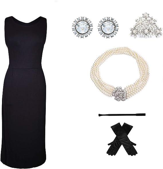Utopiat vestido negro de algodón estilo audrey y conjunto de ...