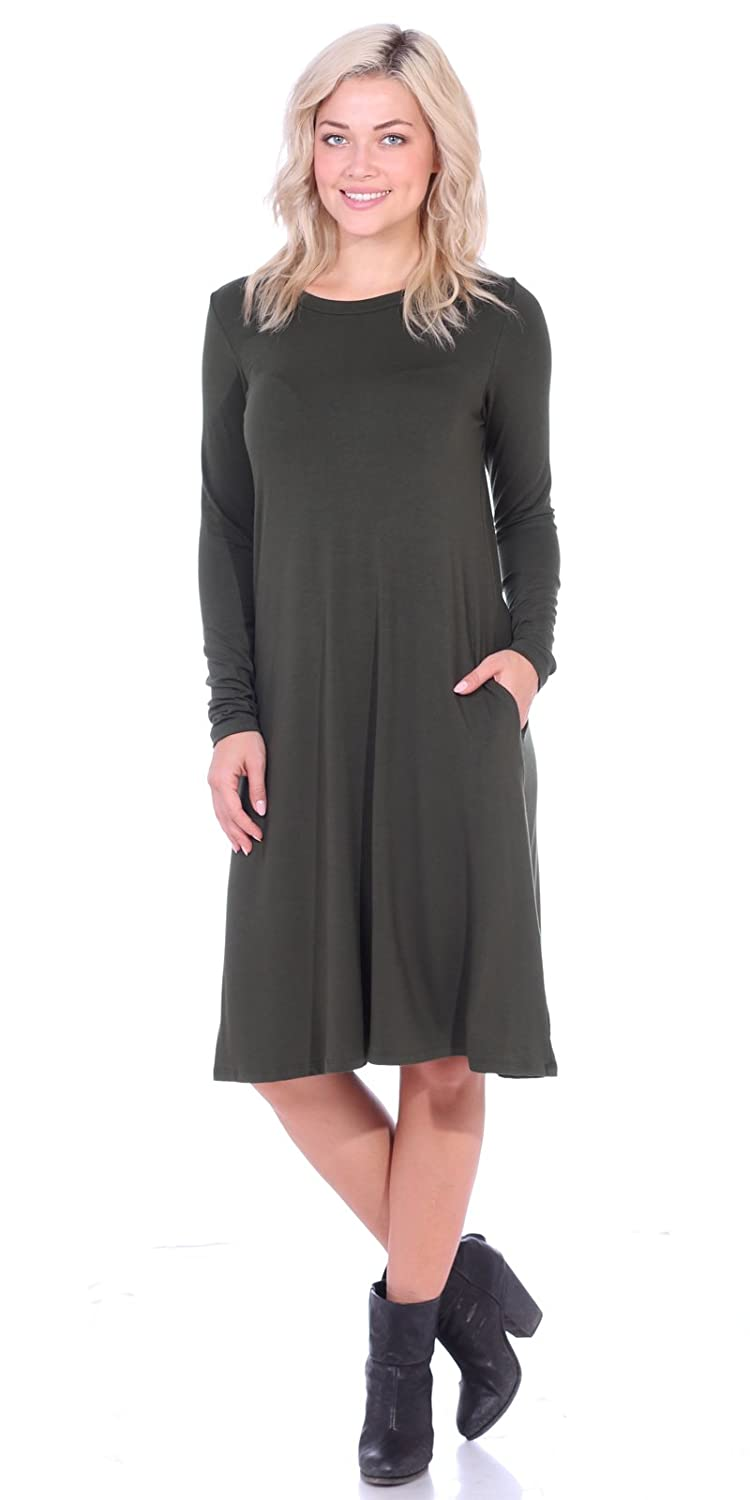 6a2d5e66d4 Popana Women s Casual Long Sleeve Loose Fit Dress Pockets Plus Size Made in  USA at Amazon Women s Clothing store