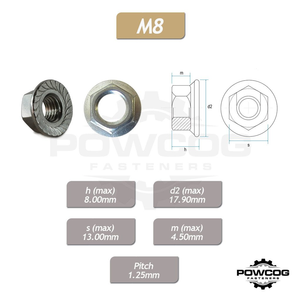 A2 Grade 304 Stainless Steel 8mm Metric Hexagon Nuts DIN 6923 Pack of 100 by POWCOG/® M8 Serrated Flange NUT
