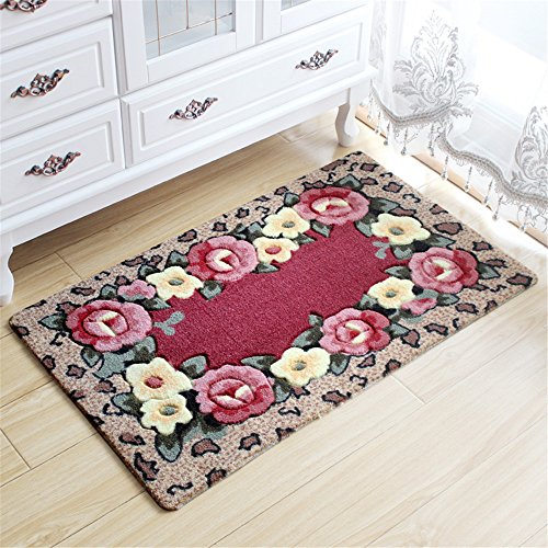 [해외]Stay Young® 15.75 * 23.62 인치 Rural Rug Rose Flower & amp; /Stay Young® 15.75*23.62 Inch Rural Rug Rose Flower & Crape Myrtle Pattern Decorative Doormat Floor Mat Bath Mat Bedroom Shaggy Area Rug Bathroom Shower Rug