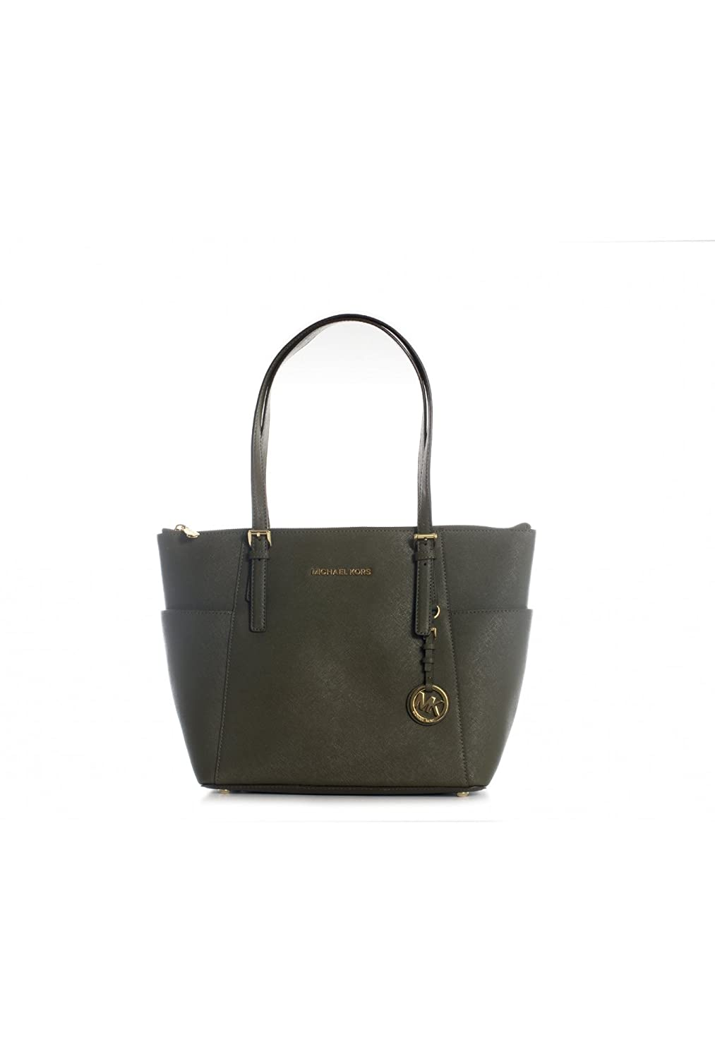 ac20358272be Amazon.com  Michael Kors Jet Set Item EW TZ Tote Loden Green Saffiano  Leather  Shoes