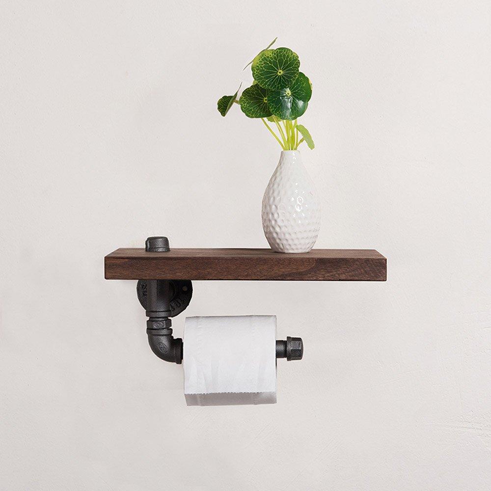 Shelfhx Baño creativo Toallero de madera Industrial Tubería de agua Steampunk Metal Hierro forjado Soporte de papel higiénico Dispensador Soporte de pared ...