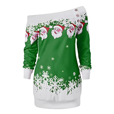 6bef79d456a DEZZAL Women s Skew Neck Christmas Santa Claus Snowflake Pullover  Sweatshirt (Green