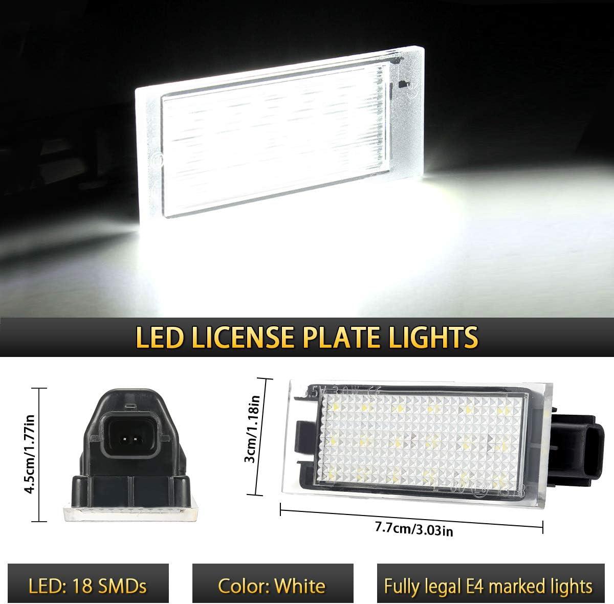 fanale posteriore con lampada LED targa Luce targa leggera impermeabile resistente agli urti per Renault Twingo//Clio