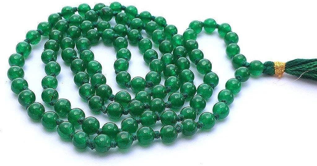 Pulsera Natural de Jade Verde 108 Collar de Mala   Jade Verde Mala   108 Oración con Cuentas Collar de Mala   Anudadas a Mano Pulsera de Mala   Japa Mala   8mm Granos Redondos