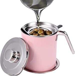 Eglaf 1.6L Stainless Steel Grease Strainer - Oil Container with Removable Filter - Dustproof Lid & Dripproof Base - Storage Can for Reusable Cooking Frying Oil, Fat (Pink)