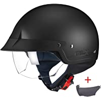 $59 » GLX Unisex-Adult Size M14 Cruiser Scooter Motorcycle Half Helmet with Free Tinted…