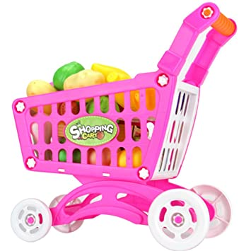 Juguetes Creativos, Zantec Juguetes de supermercado de plástico Carro de compras con frutas