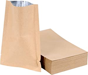 100-PACK Open Top Kraft Mylar Bags Double Sided Aluminum Foil Sealable Pouch Flat Smell Proof Storage bag for food tea salt with Tear Notch (2.36×3.54 inches)